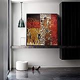 WJY Bacio di Gustav Klimt Riproduzioni di Dipinti sulla Parete Bacio Classico Famosi Quadri su Tela Poster per Soggiorno Cuadros Decor 40cm x40cm Nessuna Cornice