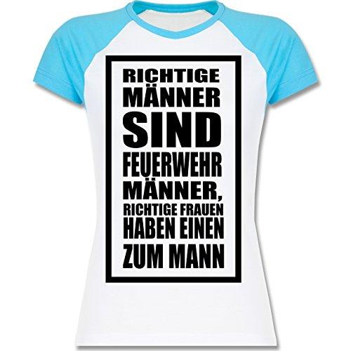 Shirtracer Feuerwehr - Feuerwehr - Richtige Männer - Zweifarbiges Baseballshirt/Raglan T-Shirt für Damen Weiß/Türkis