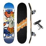 NACATIN Skateboard Komplettboard für Kinder Jungendliche und Erwachsene mit T Tool Werkzeug ABEC-9 Kugellager 92A Anti-Rutsch-Glatt und Mute Rad Funboard für Anfänger (Bunte)