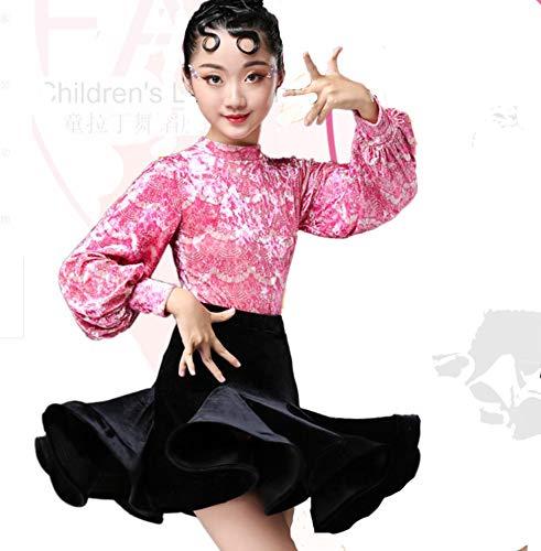 ZYLL Kind Latin Dance Outfits Kinderkleid Stone Velvet Split Dress Tanzkostüm - Stone Dance Kostüm
