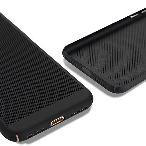 Liamoo® Apple iPhone 7 / 8 Hülle / Case / Schutzhülle aus Kunststoff gelocht mit Logoausschnitt in schwarz schwarz