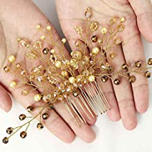 Forall Bride Crystal Hair Comb Gold Pearl Bridal Headpiece Beaded Wedding Hair Accessories for Women and Girls