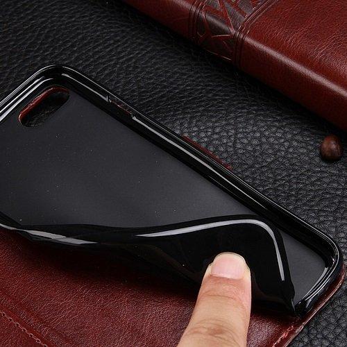 EKINHUI Case Cover iPhone Case 7, solide motif de couleur cas de style portefeuille magnétique de conception Flip Folio PU couverture en cuir cas de couverture standup pour iPhone 7 ( Color : White ,  White