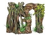 Nobby 28417 Aquarium Dekoration Aqua Ornaments, Fels mit Dschungelf mit Pflanzen, L 38.5 x B 16.5 x H 31.5 cm