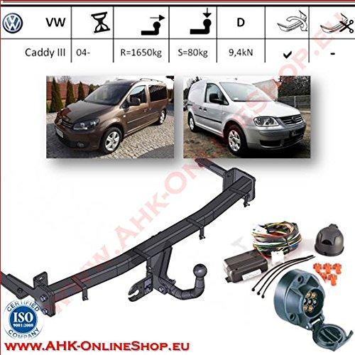 AHK Anhängerkupplung mit Elektrosatz 7 polig für VW Caddy III 2004- Anhängevorrichtung Hängevorrichtung - starr, mit angeschraubtem Kugelkopf