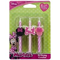 CakeDrake MINNIE MOUSE Pink Black Bow Striped (6) Birthday Party Cake Topper CANDLES by CakeDrake