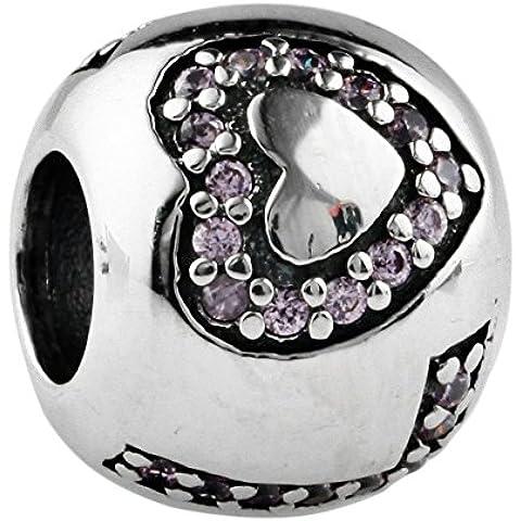 TAOTAOHAS antico ossidato sterling 925 argento charms beads perline [ circondato da amore, Light Rosaline ] bracciali europea, cristallo w