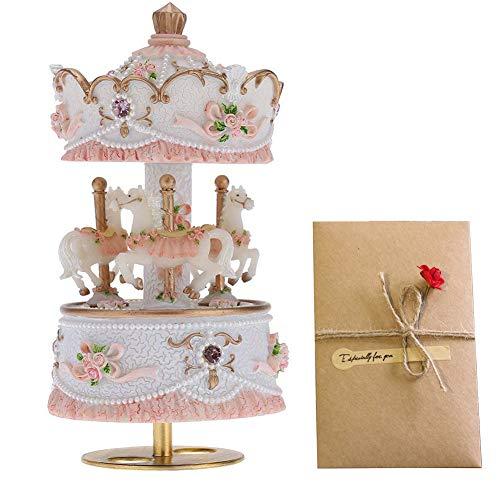 pajansa Karussell Musik Box Melodie Castle in the Sky mit Grußkarten Artware Geschenk für Kinder Kinder Familie Freunde Liebhaber Geburtstag Weihnachten Urlaub Geschenk rose