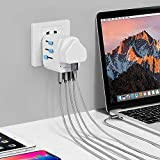 MyTravelPalTM Worldwide Universal 10A Travel Adapter - The Most Powerful & Safest All In One Earthed International Wall Charger - 4 USB Ports - USA EU UK AUS - Suitable For High Powered Devices