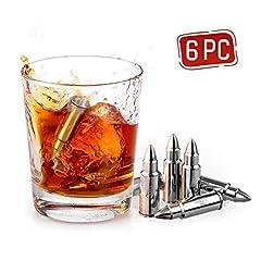 Idea Regalo - Uten Cubetti Ghiaccio in Acciaio Inox per Whisky Vino e Altre Bevande, inclusi Scatola e Pinze[6 pezzi a Forma di Proiettile]