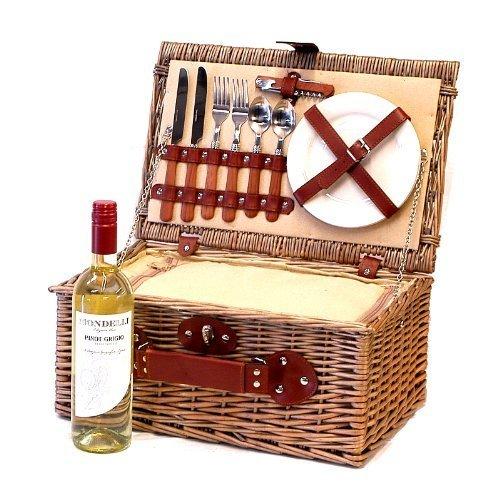 Picknickkorb für 2 Personen Mit Integriertem Kühlfach, Zubehör Und Mondelli Pinot Grigio Weißwein - Perfektes Geschenk Zum Jubiläum, Hochzeit, Ruhestand