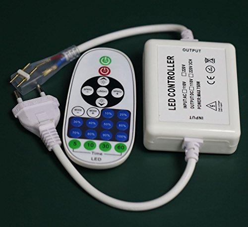 Ogeled 230V RF Funk Dimmer mit Fernbedinung für 230V LEDs Strips,Verbinder Breit von 6-8mm breit passend (RF Funk Dimmer)