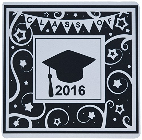 3drose 20,3x 20,3x 0,6cm Maus Pad, Klasse von 2016Abschluss Memento schwarz und weiß Graduate Hat Cap (MP _ 120292_ 1)