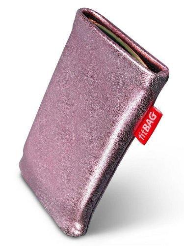 fitBAG Groove Pink Handytasche Tasche aus feinem Folienleder Echtleder mit Microfaserinnenfutter für Samsung SGH-J150