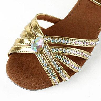 XIAMUO Frauen Kunstleder/Strass obere Knöchelriemen Latin/Salsa Dance Performance Schuhe (weitere Farben) Silber