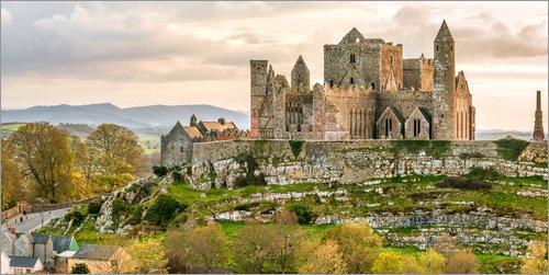 Posterlounge Leinwandbild 120 x 60 cm: Burg Rock of Cashel, Irland von Olaf Protze - fertiges Wandbild, Bild auf Keilrahmen, Fertigbild auf echter Leinwand, Leinwanddruck - Leinwand Burg