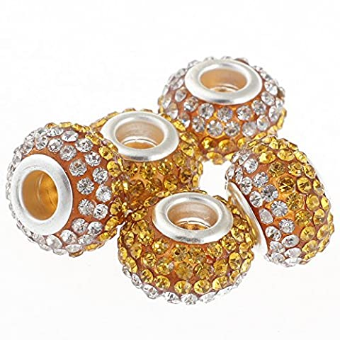 Rubyca gros trous 15mm cristal Charm perle pour bracelet charms européens, Amber Gold and White Clear, 100 PCS