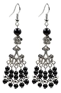 Hand made antique silver plated fashion Dangle Earrings with Jet Black stones. Packed in a lovely velvet pouchette