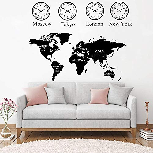 hllhpc MoscowTokyoLondonNew York Uhr Weltkarte Wandtattoo Für Büro Wanddekor Wandbild Weltkarte Aufkleber Kunst Dekoration 72 * 56 cm (York In Halloween)
