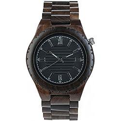 Wooden Watch, CONMING Natural Wooden Watch Handmade Small Scale Sandalwood Ebony Grain Vintage Quartz Movement Lightweight Wrist Watch Creative Gifts