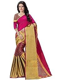 Venisa Women's Dyed Art Silk Cotton Weaving Saree ( Pink_C004)