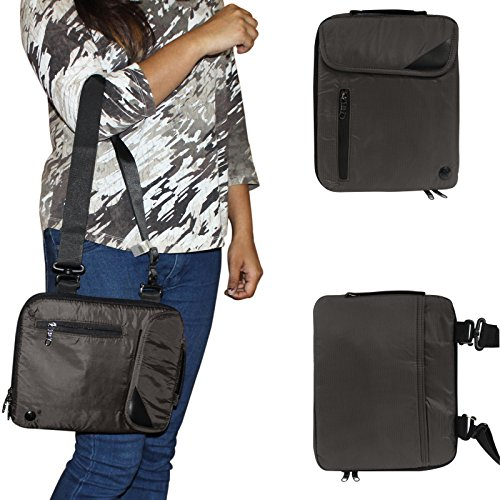 DMG Padwa Lifestyle Shockproof Soft Sleeve Carrying Vertical Messenger Nylon Bag Case with Handle and Shoulder Strap for Datawind UBI Slate 10Ci Tablet (Coffee)