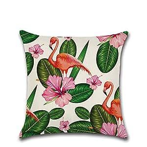COVTOR Diy Kissenbezug 45x45cm 3D Bedruckte Baumwolle Flamingo Pink Kissenhülle Geschenk, 9.