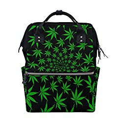 Cannabis Marihuana Blätter Vintage große Kapazität Wickeltaschen Mama Rucksack Multi Funktionen Windel Pflege Tasche Tote Handtasche für Kinder Babypflege Reisen täglich Frauen
