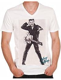Johnny Hallyday rock T-shirt,cadeau,Homme, célébrité,Blanc,t shirt homme
