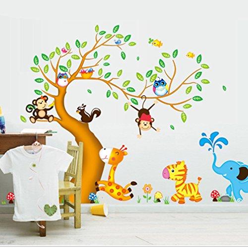 Preisvergleich Produktbild LA VIE Wandaufkleber Entfernbar Wandtattoo DIY Baum und Tiere Wandsticker Wanddekoration Art Bild Wandmalereien für Schlafzimmer Wohnzimmer Mädchen Jungen Baby Kinderzimmer 197x135 CM