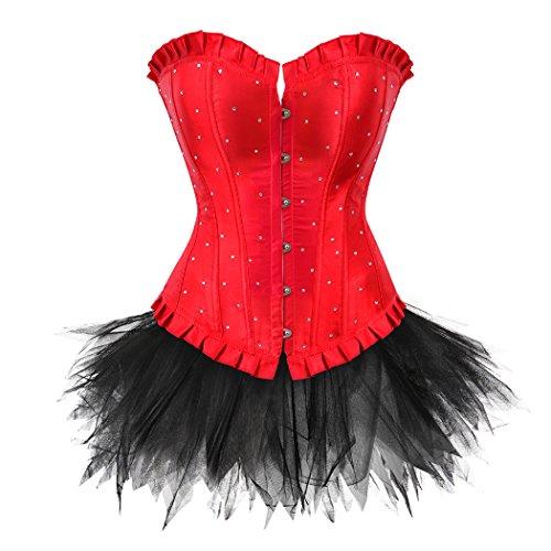 (Schnüren Sie sich Satin Diamond Korsett mit Mini-Tutu Set Burlesque Kostüme Plus Größe Red-L-Black)