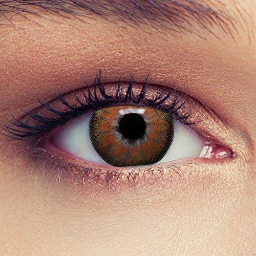 """2 Braune Kontaktlinsen mit Stärke für einen natürlichen Effekt geeignet für dunkle Augen Drei Monatslinsen + Gratis Behälter -3,50\""""Dimension Brown\"""""""