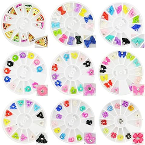 New 3D Fan Cake Slices Bow Tie Manicure Nail Art Fimo Decoration Set of 9 (Torta Set Decoration)