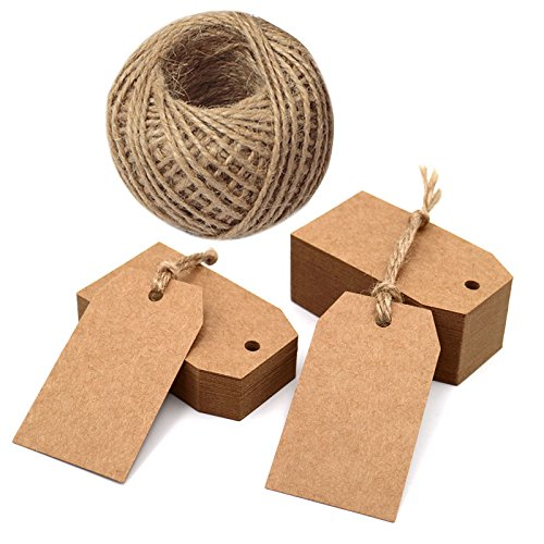Etichette regalo di carta fai da te, 6,9x 3,8cm, con spago in iuta di 30,5metri per festa di Natale, decorazioni e lavoretti fai da te, 100pezzi, Brown, 2.7''x 1.5''