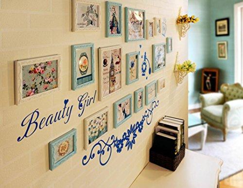 X&L 7 Box Solid Wood Koreanisch Hintergrund Wand Home Dekoration Wohnzimmer Schlafzimmer Wand Foto Frame kreative Kombination Foto Fotowand , E - 2