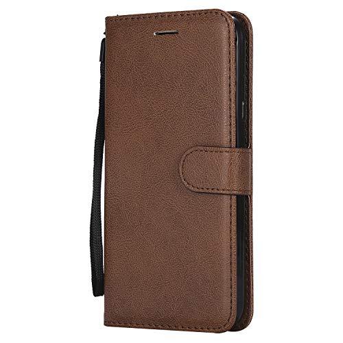 Tosim [LG X Power 2] Hülle Leder, Klapphülle mit Kartenfach Brieftasche Lederhülle Stossfest Handy Hülle Klappbar für LG X Power2 (LGM320N) - TOKTU57593 Braun