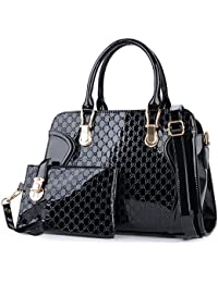 a53ddbd9de Coofit Leather Handbag Messenger Bag for Ladies + Small Bag+Bear Key  Chain+postcard