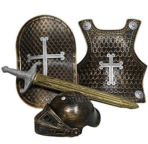 Kostüm Rüstung Brustplatte - Lvbeis Kind Ritter Rüstung Ritterkostüm - Helm, Schwert, Schild, Brustplatte Kinder Krieger Cosplay,Gold