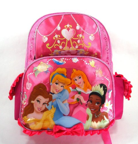Disney Princess Backpack – Happily Ever After – Large 16in Backpack – Featuring Tiana, Bell, Cinderella. Aurora, and Beauty