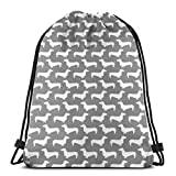 "vintage cap Sausage Dog Wiener Dog Doxie Dachshund Cute Grey and White Nursery Baby Dog Pet Dog Dogs Pillow_46 3D Print Drawstring Backpack Rucksack Shoulder Bags Gym Bag for Adult 16.9""x14"""