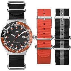 Timex Original Unisex Quartz Watch with Black Dial Analogue Display and Multicolour Nylon Strap UG0108AU