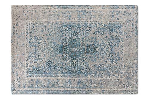 LIFA LIVING Alfombra de salón Moderna de Chenilla | Alfombra Pelo Corto con diseño Vintage (Azul Gris, 140 x 200 cm)