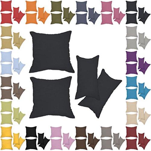 Nurtextil24 Kissenbezüge 2er Set Leinen-Optik 25 Farben und 20 Größen Blickdicht mit Reißverschluss Anthrazit 40 x 60 cm