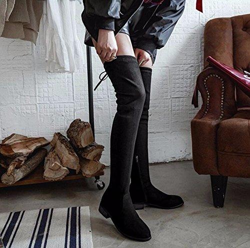KHSKX-3.5Cm Nero Sottile Tratto Di Gamba Stivali Sopra Il Ginocchio Stivali Lunghi Stivali Stivali Femmina Sottile Ed Elastica High-And-Cashmere 40 39