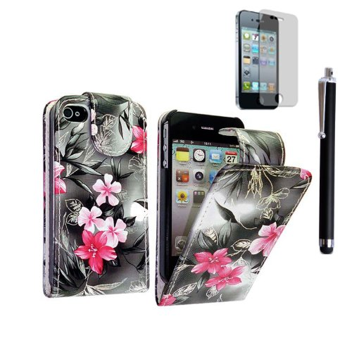 GSDSTYLEYOURMOBILE {TM} APPLE IPHONE 5 5S VARIOUS DESIGN CARD POCKET HOLDER PU LEATHER BOOK FLIP CASE COVER POUCH + STYLUS PINK FLOWER DARK GREY FLIP