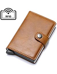 UNYU Credit Card Holder RFID Blocking Wallet Slim Wallet Genuine Leather Vintage Aluminum Business Card Holder Automatic Pop-up Card Case Wallet Security Travel Wallet