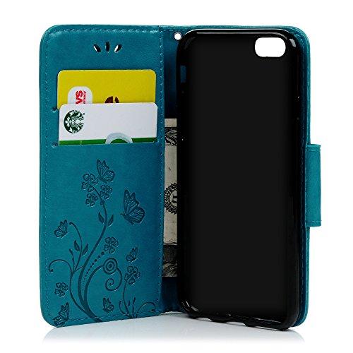 Badalink Hülle für iPhone 6/6s Rosarot Schmetterling Handyhülle Leder PU Case Cover Magnet Flip Case Schutzhülle Kartensteckplätzen und Ständer Handytasche mit Eingabestifte und Staubschutz Stecker Blau