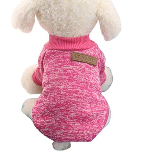 11 Farben Nette Haustier Hund Welpen klassischen Pullover Fleece Pullover Kleidung Warm Winter Strickwaren Mantel Bekleidung Kleidung (XXL, Dunkelpink)