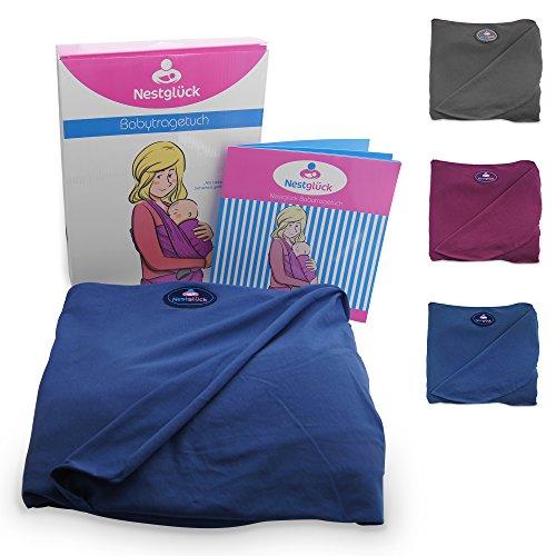 Premium Baby-Tragetuch aus 100% Baumwolle für Neugeborene und Kleinkinder | Hochwertiges Umhängetuch | Elastisches Kindertragetuch mit deutschsprachiger Anleitung für Bindetechniken (Hell-Blau) - 2