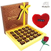 De'Arco Chocolatier Valentine chocolate for husband, Valentines Day Chocolates, Valentines Day Gift Hamper, Premium Valentine Chocolate, 265g + FREE - Furr Heart and Rose
